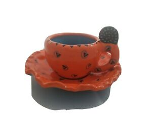 Judie Bomberger Art Whimsical Demitasse Expresso Cup Saucer Orange Turquoise Blk