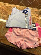 NEW CHAMPION  girls 7/8 shorts and tank top set pink and purple cut out back