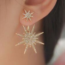Rhinestone Crystal Lady Women 1 Pc Dangle Gold Earrings Star Ear Stud Earring
