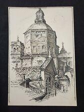 Illustrazione disegno china Ponte coperto vecchio sul Ticino PAVIA 1920 Calleri
