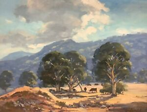 """John Duncan Firth (England/Aust 1936-2017) """"Untitled Cattle at Dam"""" Oil on Board"""