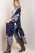 NWT Kimono blue white Maxi Duster Coat Semi Sheer Gypsy Bandana Print Easy Fit L