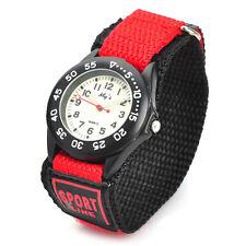 Sports Zinc Alloy Case Nylon Velcro Band Quartz Analog Wrist Watch for Kids Red