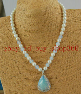 Pretty 8mm White Shell Pearl & White Opal Pendant Necklace 18'' AAA