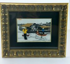 Vietnam Paper Quilling Hand Crafted Asian Art Print Matted & Framed Water Scene