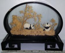 Vintage Chinese Hand Carved Cork Diarama Panda Bears & Bamboo Wood & Glass Frame