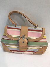 Authentic Coach Daisy Striped Canvas & Leather Trim Top Handle Handbag Purse
