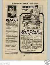 1924 PAPER AD Dexter Wood Washing Machine Climax Electrotypes Art Work Newspaper