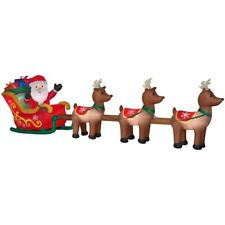 CHRISTMAS SANTA SLEIGH REINDEER  SLED  AIRBLOWN INFLATABLE DECORATION 16 FT HUGE