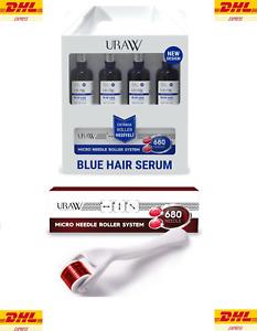 4 x URAW Blue Hair Serum + Dermaroller Set (4+1 Advantage Pack) (NEW DESIGN)
