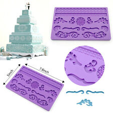 Lace Silicone Mold Mould Sugar Craft Fondant Mat Cake Decorating Baking Tool HOT