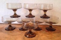 Vintage smoky brown wine cordial bar drinking glasses set of 8