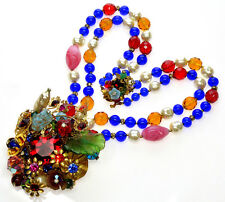 VTG EXUBERANT NECKLACE BY ANKA VENETIAN, POURED GLASS, PEARLS, RS, BRASS