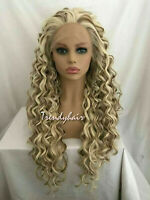 Mixed Blonde Brown Synthetic Long Curly Wavy Free Part Soft Swiss Lace Front Wig