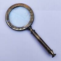 Antique Brass Magnifier Vintage Magnifying Glass Collectible Decorative