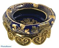Vintage LIMOGES French Cobalt Blue Gold Metal Porsem Porcelain Ornate ASHTRAY