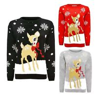 Womens Ladies Rudolph Bambi Bow Reindeer Novelty Xmas Sweater Top Jumper Knitted