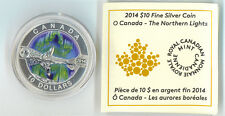 2014 O Canada Series $10 Fine Silver Coin - The Northern Lights No Tax