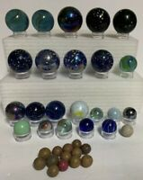 "Lot of 36 Vtg Marbles~Glass~Clay~1/2"" to 2""~Jumbo~Shooter~Cobalt~Speckled"