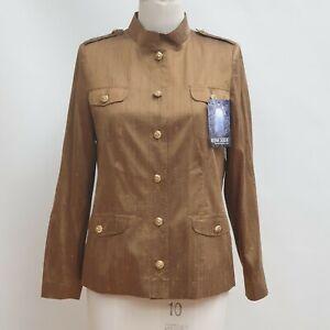 Damen Kostüm 100% Seide Jacke & Rock Farbe gold Größe 38 Designer Modell