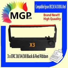 3x ERC-30 ERC-34 ERC-38 BLACK & RED printer ink ribbon for Epson TM-U220 TM-U230