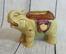 "Elephant Planter Figurine Crackle Vintage 7"" Porcelain Collectible Made in Japan"