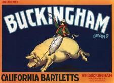 BUCKINGHAM CRATE PEAR LABEL COWBOY PIG VACAVILLE ORIGINAL 1930S WESTERN VINTAGE