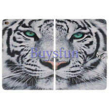 Bocov White Tiger Pattern PU Leather Wallet Cover Case For iPad Air 2