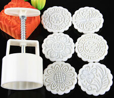 Round Shape Moon Cake /Pastry Mold Hand Pressure 100g One Barrel 6 Flower piece