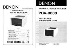 DENON poa-8000 Service & USER MANUAL poa8000 POA 8000