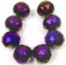 20mm Large Metallic Iris Purple Glass Quartz Faceted Round Ball Focal Beads