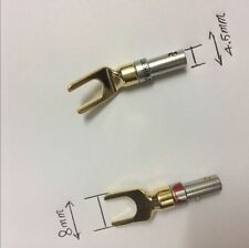 8pair Speaker Banana Spade Plug Screw Type Gold Plated Tail hole 4.5mm
