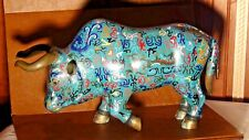 ANTIQUE CHINESE LARGE CLOISONNE MULTICOLOR ENAMEL  OXEN STATUE
