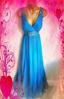 MONSOON STUNNING BLUE EMBELLISHED 100% SILK CHIFFON MAXI EVENING DRESS UK  12