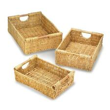 Set of 3 Maize Straw Nesting Storage Baskets with Wooden Dowel Handles