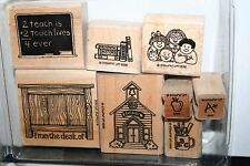 e STAMPIN UP RETIRED STAMP SET 2 TEACH 8 PC LOTS OF STAINING