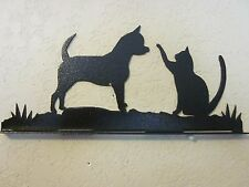 CHIHUAHUA AND CAT MAILBOX TOPPER (NO NAME) STEEL BLACK POWDER COAT FINISH