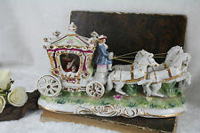 XL Italian Porcelain Capodimonte Pacelli signed Carriage group horses princess
