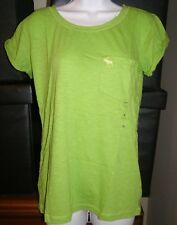 ABercrombie Womens M Pocket TShirt New/tags Lime Green