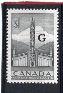 "Canada GV1 1952-55 ""G"" o/print $1 black sg O195 NHM"