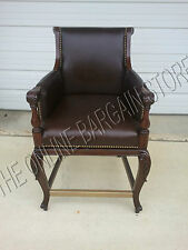 Frontgate Acanthus Low Counter chair leather bar Barstool wood stools 24 redbark