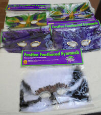 New Unisex Lot of 5 Assorted Feather Masks w/Sticks for Mardi Gras, Carnival etc