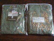2 Jc Penney Sensations Embroidery Curtains Rod Pocket Panel Olive Green 51 x 84