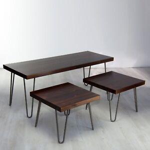 Vintage Solid Wood Coffee Table Set/ Nest - Hairpin Legs, Rustic Dark Wood
