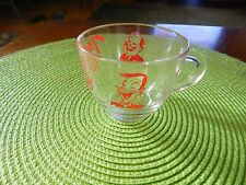Tom and Jerry Punch cup clear glass red print