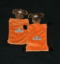 Lot 2 peluche doudou mouton plat orange BRIOCHE BERYL chien pattes noires TTBE