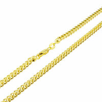 """10K Yellow Gold 3mm Franco Square Box Franco Chain Necklace Lobster Clasp 26"""""""