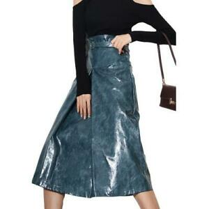 Women's Faux Patent Leather Slit A-Line Skirts High Waist Slim Fit Skirt Party L