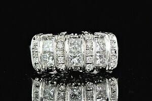 $4,550 EFFY BITA 14K White Gold 1.50ct Princess Round Diamond Cocktail Ring Band