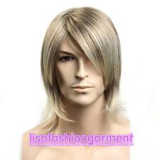 Fashion wig men boy short Blonde mix curly Natural Hair wigs + Free Wig cap